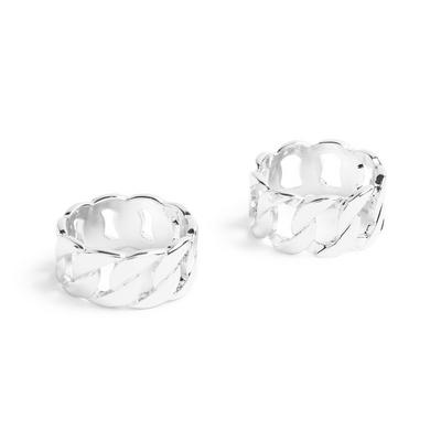 Silvertone Chain Rings 2 Pack
