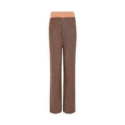 Beige Geometric Wide Leg Trousers