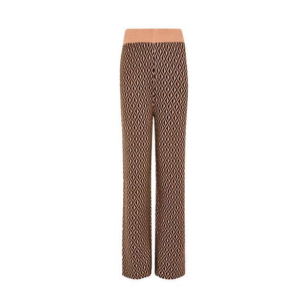 Pantalon large beige à motif géométrique