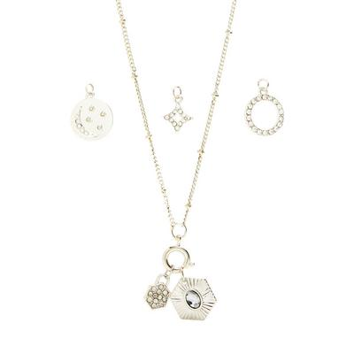 Silvertone Interchangeable Charm Necklace Set