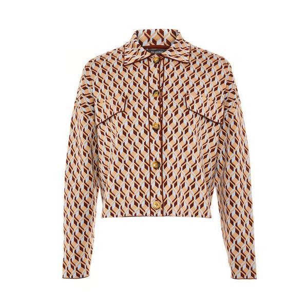 Veste-chemise beige boutonnée à imprimé géométrique