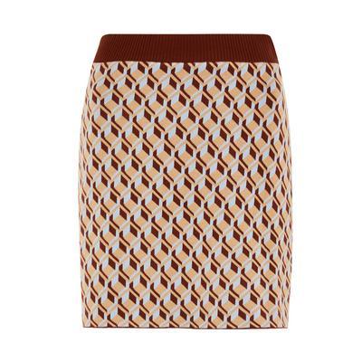 Beige Geometric Pencil Skirt