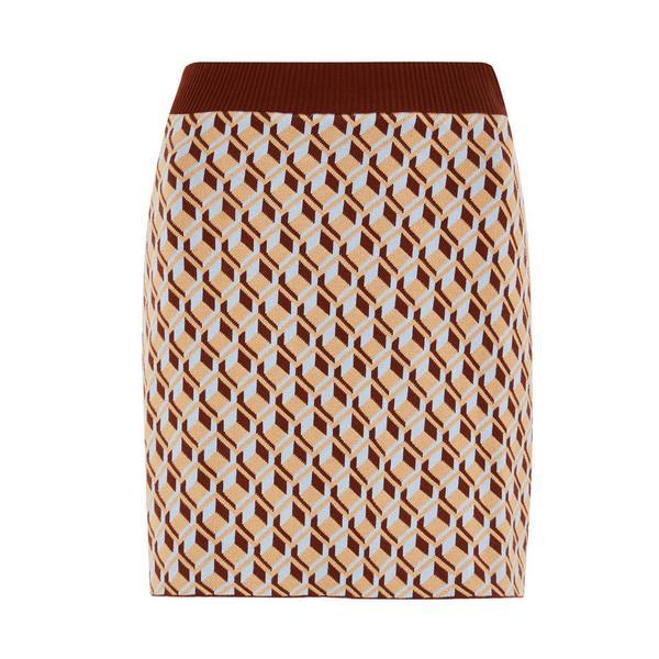 Jupe crayon beige à motif géométrique